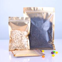 intarsi in plastica Sconti 100 pz / lotto un lato trasparente in plastica a chiusura lampo sacchetto di oro intarsio foglio di alluminio sacchetto di caffè tè alle erbe sacchetto di imballaggio sacchetto caldo EDC LZ1826