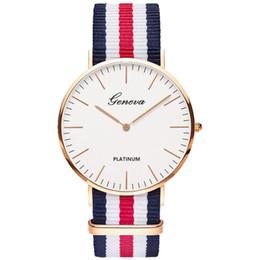 Hombres de la manera mujeres unisex Geneva Platimum tela de nylon reloj deporte muñeca delgada vestido de cuarzo de la lona relojes de pulsera para hombres mujeres desde fabricantes