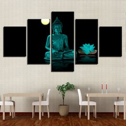 Wholesale buddha art oil painting - Framework Posters HD Printed 5 Pieces Canvas Paintings Buddha Lotus Moon Abstract Pictures For Living Room Wall Art Home Decor