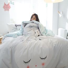 Wholesale Light Pink Comforters - Pastoral cartoon print bedding sets 100% Pure cotton comforter cover set bed sheet type 4pcs per set parure de lit adulte SP4216