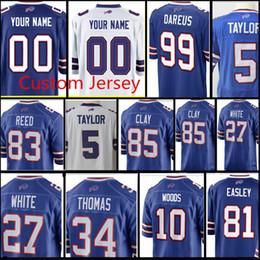 Wholesale bills throwback jersey - custom Buffalo Bills Jersey Men 27 Tre'Davious White 77 Cordy Glenn 85 Charles Clay 99 Dareus 10 McCarr 75 Hairston 70 Wood Jerseys