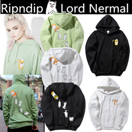 Wholesale Cheap Long Sleeve Pullover Sweater - Europe and the United States tide brand Rip N Dip sweater cheap cats middle finger cat hooded sweater women plus velvet jacket