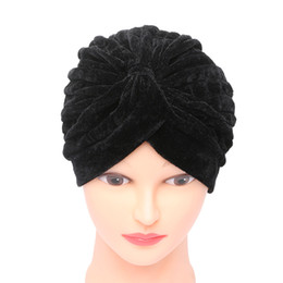 Wholesale Velvet Hats Ladies - 1PC 2017 Women Lady Vogue Muslim Gold Velvet Headscarves India Headdress Baotou Hat Skullies Beanies Cap