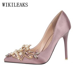 Wholesale navy blue satin pumps - pearl designer valentine satin bigtree shoes luxury brand wedding shoes rhinestones crystal high heel shoes party sexy pumps