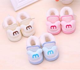 Botas de neve velhas on-line-Novo bebê 0-1 anos de idade espessamento de inverno quente sapatos de algodão do bebê da criança crianças de fundo macio botas de neve