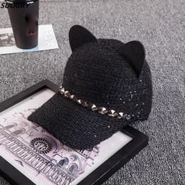 Deutschland Frauen-Katzenohren-Baseballmütze-warme Winter-Hüte gestrickte Baseballmütze Art und Weise befestigt Visier für Damen-Hysteresen-Hut cheap cat snapback Versorgung