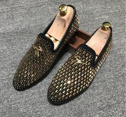 Scarpe mocassini in velluto mens online-Scarpe da uomo da uomo in velluto di velluto, mocassini con diamanti d'acqua, pantofole in velluto, scarpe da uomo inglesi scarpe da uomo mocassini da uomo mens G1.65