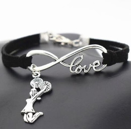 bracelet accessories love Coupons - 10pcs Vintage Silver Love Infinity Cheerleader Cheer Charm Bracelet Bangle For Women Mixed Color Velvet Rope Bracelet Jewelry Accessories