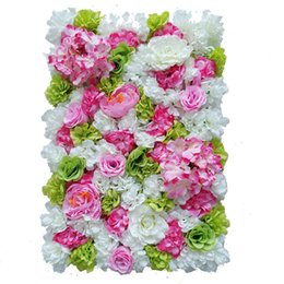 Wholesale Prop Lights - 60x40 Cm Artificial Flower Wall Background Wedding Props Supplies Wall Decoration Arches Silk Flower Rose Peony Window Studio