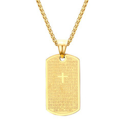 gold dog tags wholesale Promo Codes - Christian Cross Bible Verse Prayer Necklace Gold Titanium Steel Geometric Square Pendants Necklaces for Men Rock Jewelry Dog Tag