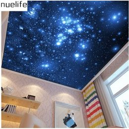 Wholesale Korean Ktv - Wholesale-3D Stereo Murals Sky Ceiling Space Star Pattern Stitching Wallpaper Bar Internet Bar Hotel KTV Decorative Wallpaper