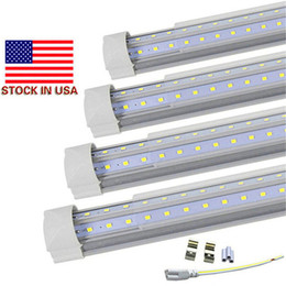 Wholesale Usa Doors - V-Shaped 4ft 5ft 6ft 8ft Cooler Door Led Tubes T8 Integrated Led Tubes Double Sides SMD2835 Led Fluorescent Lights 100-277V Stock In USA