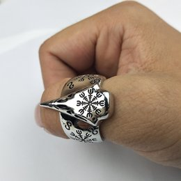 Wholesale Vintage Bird Jewelry - whole sale2017 Vintage Compass Bird Head Ring Punk Skull Size 10 Finger Ring Nordic Vikings Vegvisir and Raven Personalized Amulet Jewelry