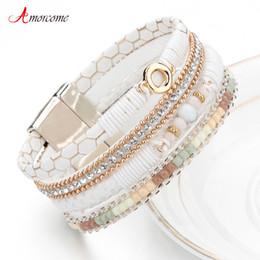 e0f226c61781 2019 anchos brazaletes de metal Amorcome Mujeres Pulsera De Cuero  Rhinestone Femenino Cristal Metal Encanto Blanco