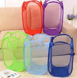 Wholesale Pop Hamper - Foldable Mesh Laundry Basket Clothes Storage supplies Pop Up Washing Clothes Laundry Basket Bin Hamper Mesh Storage Bag