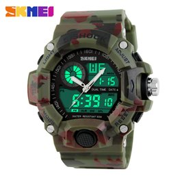 Wholesale Men S Watch Dual Time - Wholesale-2017 Quartz Digital Camo Watch Men Dual Time Man Sports Watches Men Skmei S Shock Military Army Reloj Hombre LED Wrist Watches