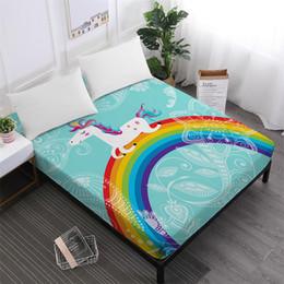 Casa Têxtil Unicórnio Dos Desenhos Animados Folha de Cama Arco-íris Colorido Lençol Flores Imprime Capa de Colchão Poliéster Roupas de Cama de