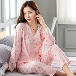 Spring Autumn Sexy Lace V-neck Pajamas 100% Cotton Floral Long-sleeve Plus  Size M-3XL Pijama Mujer Pyjamas Women 2117c4795