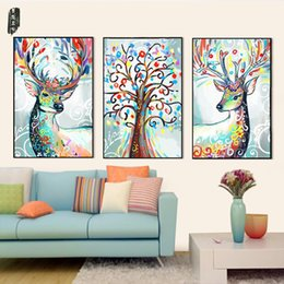 Wholesale Colourful Wall Painting - Abstract Animal Wall Art Deer Canvas Painting Posters and Prints Nordic Home Decoration Modern Colourful Pictures