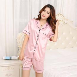 970bd1a7da 2018 Summer New Fashion Women Pajamas Turn-down Collar Sleepwear 2 Two  Piece Set Shirt+Shorts Casual Pajama Set PJ Set ST19