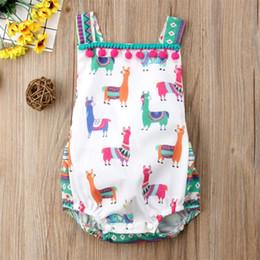 Canada Summer Causal Summer Alpaca Print Romper Baby Girls Combinaison sans manches pour tout-petits O-cou Tassel avec grand arc Barboteuse supplier animal print bows Offre
