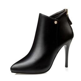 2019 sapatos de salto curto vermelho Outono inverno ankle boots para mulheres sexy sapatos de salto alto senhoras pu de couro apontou toe botas curtas botas mujer preto vermelho sapatos de salto curto vermelho barato