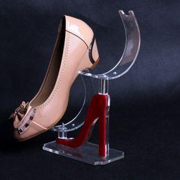 Wholesale wholesale shoe display stand - Acrylic display plastic shoe support shelf high heels women 's shoes display stand shoe rack U - shaped frame
