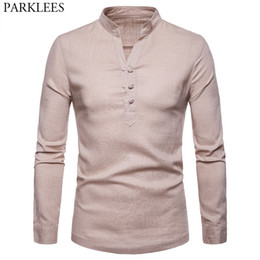 b6366ce347a мужская льняная рубашка воротник мандарина Скидка Стильный Белье Henley  Рубашка Мужчины 2018 Новый С Длинным Рукавом