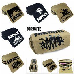 Wholesale school cases - 5 design wallet Fortnite Pencil Bag Cartoon Pencil Cases Stationery Storage Bag School Office Supply Kids Gift Purse MMA335