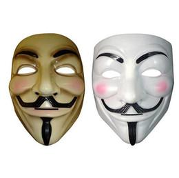 Vestido blanco para hombres online-Vendetta máscara máscara anónima de Guy Fawkes disfraz de Halloween disfraz blanco amarillo 2 colores para la venta