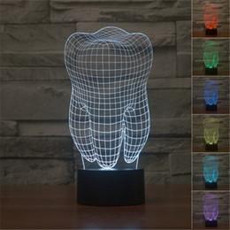 Lâmpada de luz de dente on-line-Tooth Forma 3D Luz Noite 7 Cores Gradient engraçado LED USB Desk Lamp Acrílico Odontologia Decoração