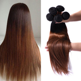 Top Quality 3 Bundles Auburn Brown Brazilian Ombre Hair Extensions Two Tone Ombre Straight Brazilian Unprocessed Virgin Human Hair Coupon