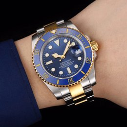 Wholesale Sub Gold - High quality luxury men's watch 116613LB-97203 sub master series gold 40MM blue dial ceramic bezel 2836 automatic mechanical original clasp