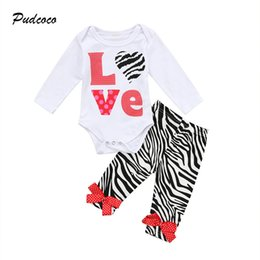 Wholesale Love Cute Baby Boy - 0-24M Cute Newborn Baby Girl Clothing Set Long Sleeve Love Print Cotton Romper Tops+Leopard Pant Legging 2PCS Outfit Kid Clothes