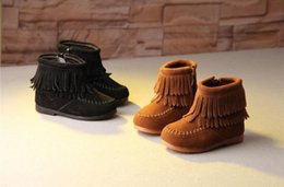 Wholesale Break Boots - Break the new autumn and winter children's shoes European and American style children's boots leather frosted double tassel girls boots