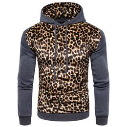 Wholesale leopard men hoodie - Men's Leopard Hooded Hoodie Patchwork Printed Warm Fleece Long Sleeves Coat England Style Casual Hoodies Men's Hoodie