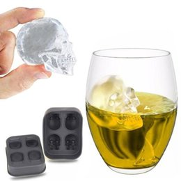 Wholesale Silicone Ice Cube Maker - 4 Holes 3D Bones Skull Ice Mold Silicone Ice Cube Mold Maker Cake Candy Tray Whiskey Wine Kitchen Bar Accessories