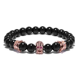 Мужская головная коронка онлайн-Natural Stone  Crown Bracelet For Women Robot Head Black Bracelet Men Energy Prayer Yoga Strand Dropshipping