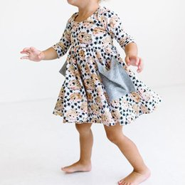 Wholesale Cool Summer Shorts - Girls Hedgehog Printed Dress with Pockets Baby Girls Dresses with * Cartoon Breathable Cool Cotton Summer Skirt 1-6T