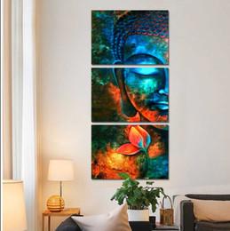 Toptan Buda Tuval Boyama Çerçeveli zen boyama Duvar Resmi Oturma Odası Için 3 Adet meditasyon Tuval sanat / 11Y-ZT-36 cheap buddha canvas painting frame nereden tuval boyama çerçevesi tedarikçiler
