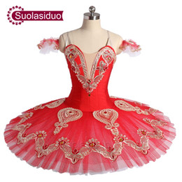 Concorrenza di ballo online-Red Professional Ballet Tutu Stage Wear Performance per adulti Dancewear Grils Ballet Dance Competition Costumi per bambini Ballet Skirt Apperal