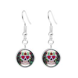 Espárragos del cráneo online-Sugar Skull Earring Halloween Skull Ear Studs Sugar Skulls Glass Cabochon Pendientes Joyería Regalos para mujeres al por mayor
