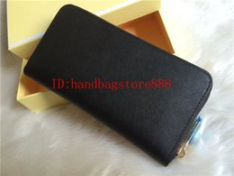 Wholesale leather business card box - AAA woman ladies MICHAEL KALLY high quality famous brand long single zipper Genuine Leather wallet Cross pattern 008 purse with box card