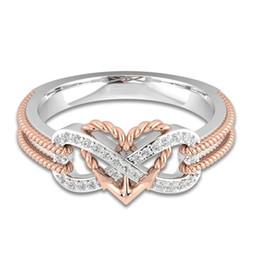 2019 anel de casal de ouro branco de 14k 925 Sterling Silver Twist Amor infinito Anéis de Dedo Coração Moda Retro Vintage Anel De Cristal Para As Mulheres