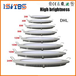 Panel de luces led 12w smd2835 online-Luz de panel LED redonda regulable SMD 2835 3W 9W 12W 15W 18W 21W 25W 110-240V Lámpara empotrada de techo LED SMD2835 downlight + driver
