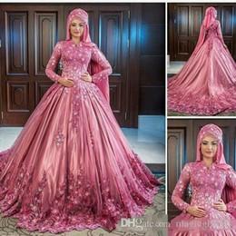 Lujosos vestidos de boda musulmanes online-Apliques de encaje de flores de lujo musulmán apliques de encaje alto mangas largas vestidos de novia de satén Vestidos de novia clásico elegante