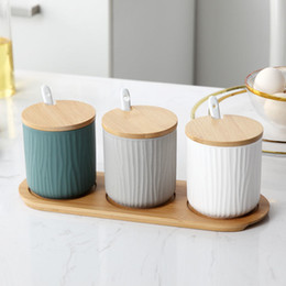 spice rack bottles Promo Codes - Kitchen Nordic Household Ceramics Flavor Storage Bottles With Bamboo Rack Seasoning Spice Sugar Salt Jars with Cover and Spoon
