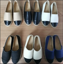 Wholesale Loafers Flats - New Fashion Canvas and Real Lambskin women Espadrilles Flat Shoes Summer Loafers Espadrilles Size EUR34-42 Many Colors with Box