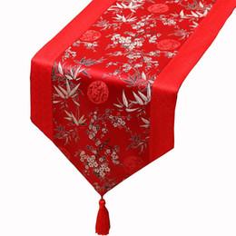 Bambus tisch tücher online-150 x 33 cm kurze Lange Bambus Seide Satin Tischläufer Dekoration Damast Kaffee Tischdecke Rechteckigen Weihnachten Tischsets