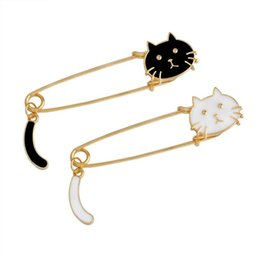 Wholesale Cartoons Faces - Wholesale- Cute Cartoon Black White Cat Kitten Face & Tail Metal Brooch Pins DIY Sweater Pin Badge Gift Jewelry for women girl kids